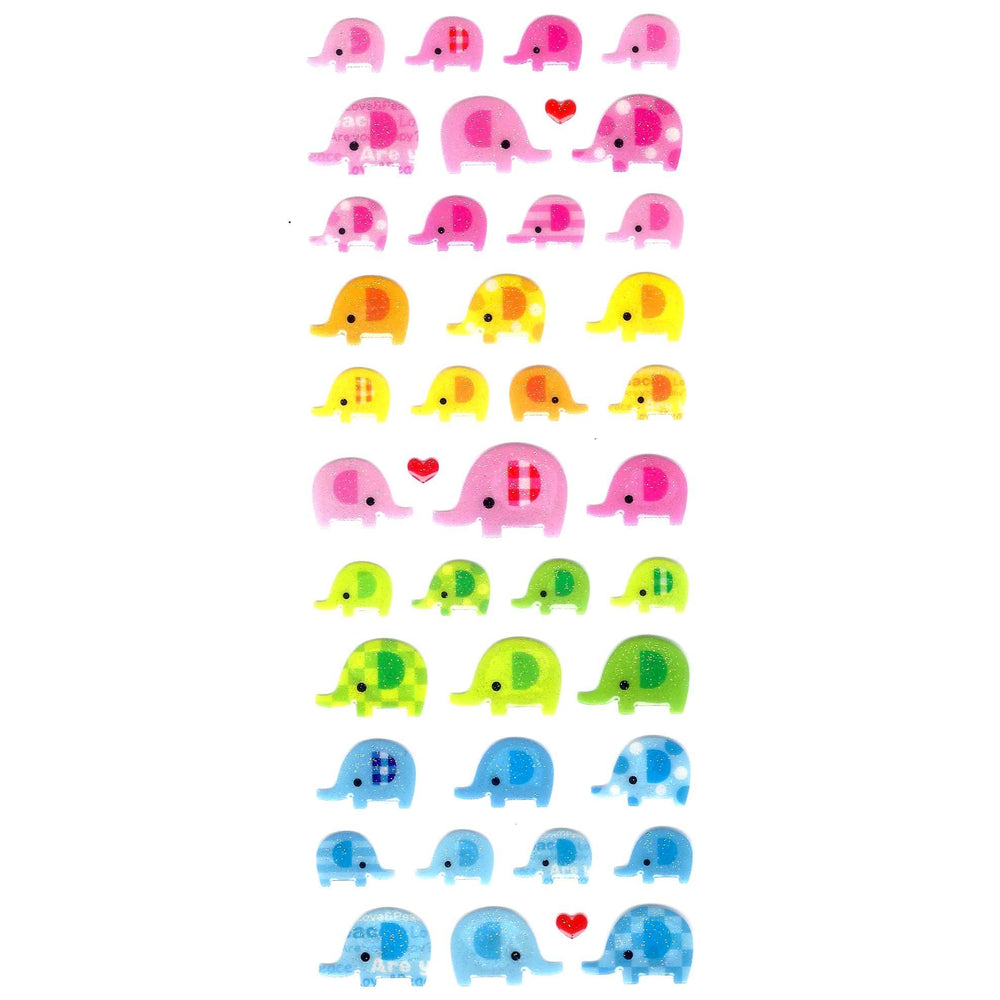 Baby Elephant Animal Glittery Jelly Puffy Stickers for Scrapbooking and Decorating | DOTOLY