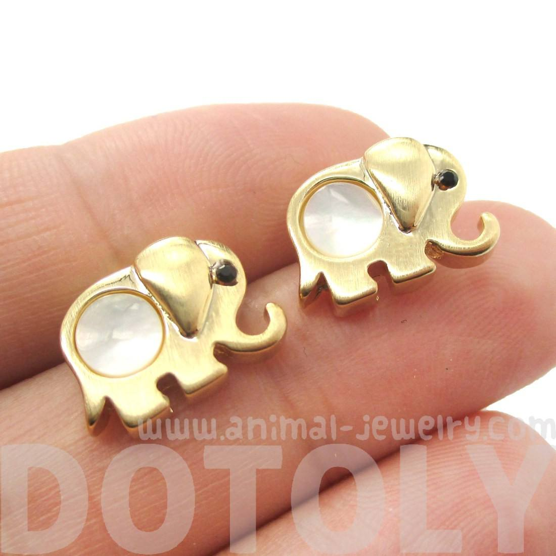 Baby Elephant Animal Shaped Stud Earrings in Gold