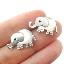 Baby Elephant Animal Shaped Stud Earrings in Silver