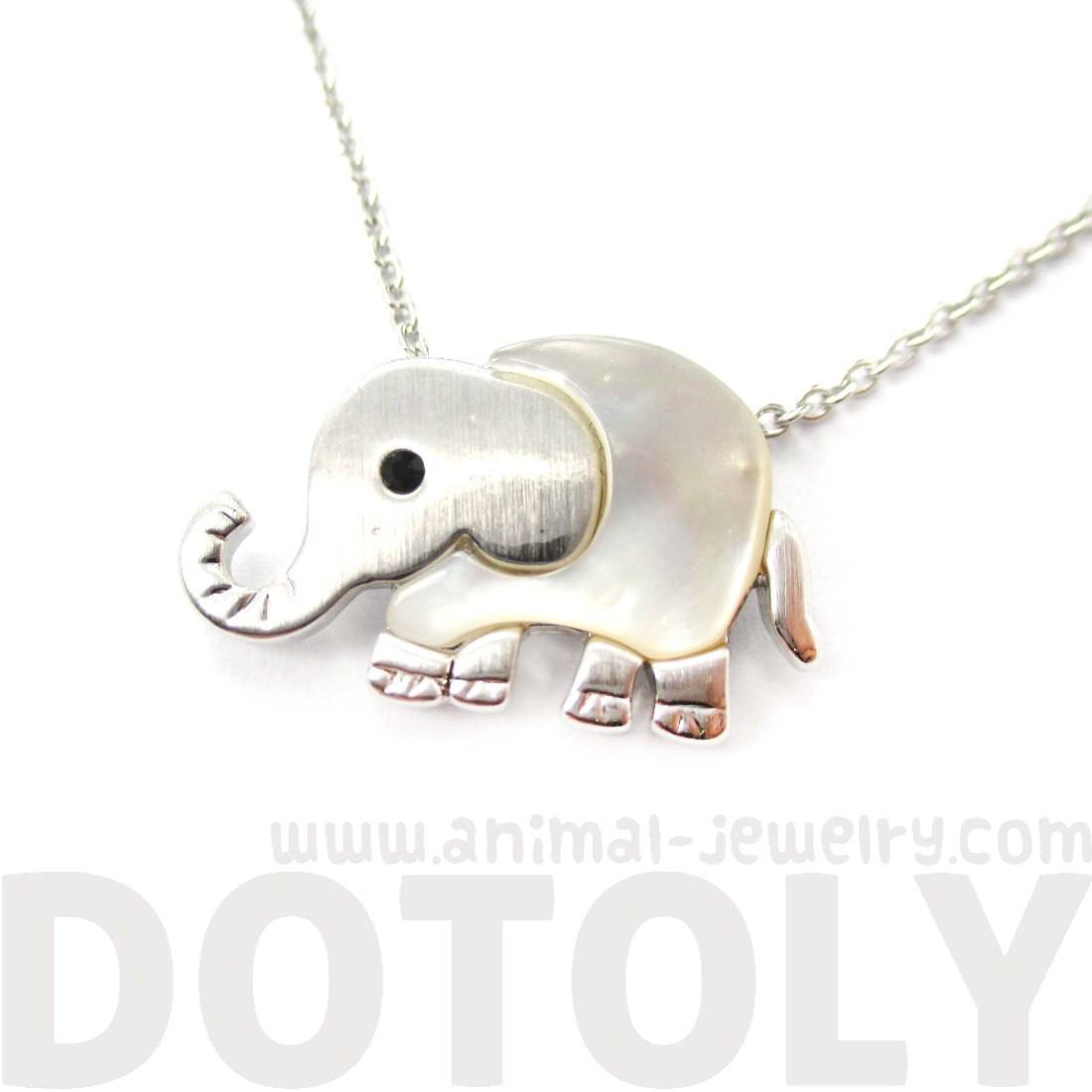 Baby Elephant Shaped Animal Charm Necklace in Silver