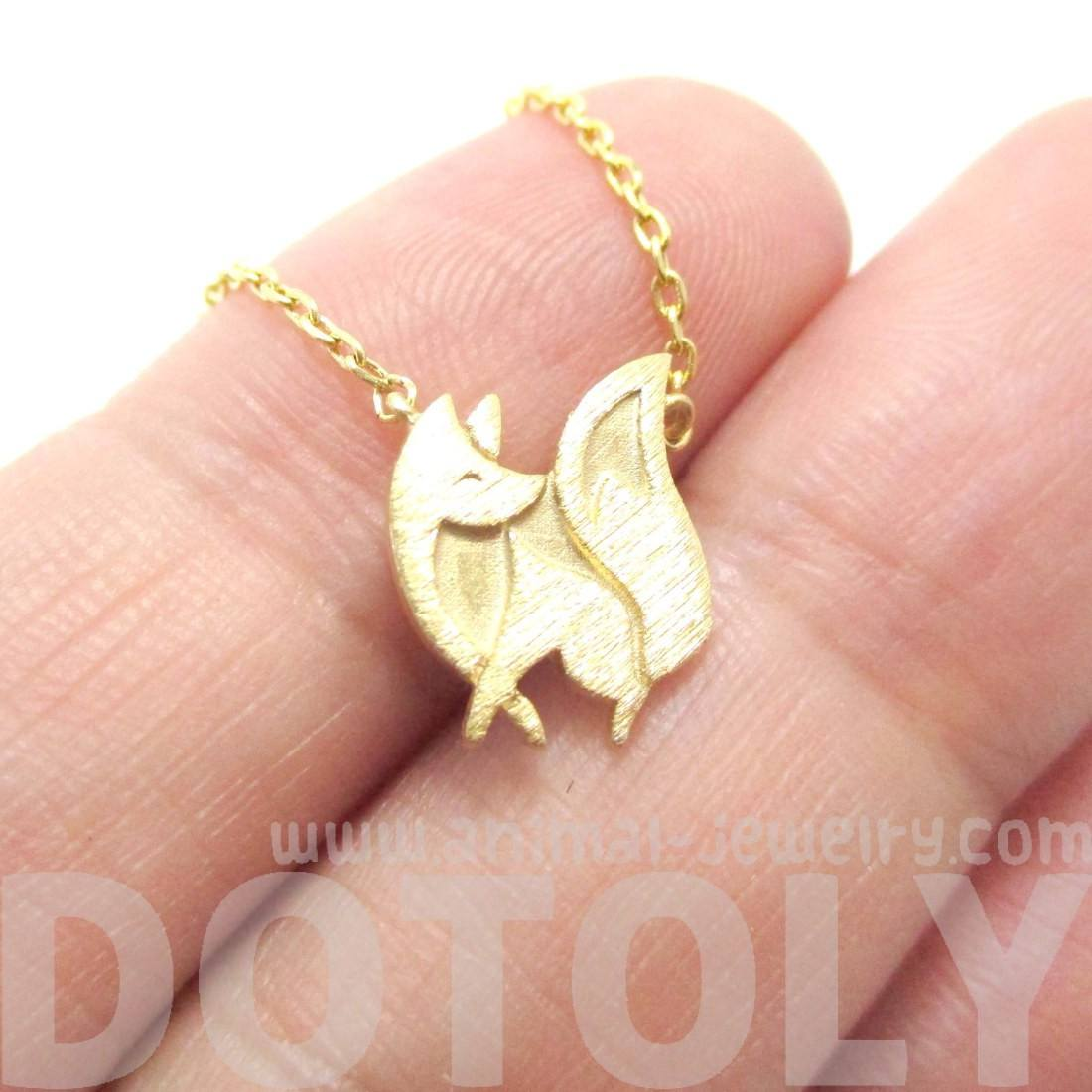Baby Fox Shaped Silhouette Pendant Necklace in Gold