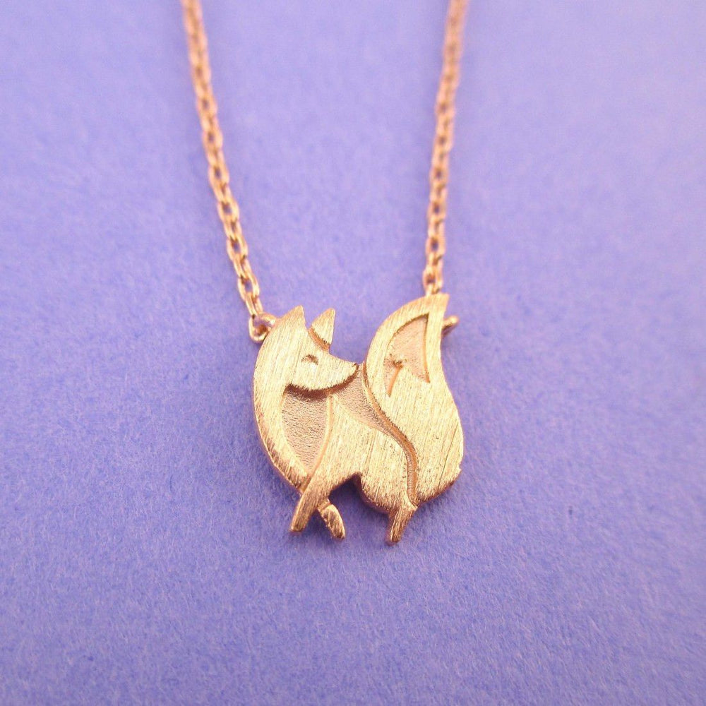 Baby Fox Shaped Silhouette Pendant Necklace in Rose Gold | DOTOLY