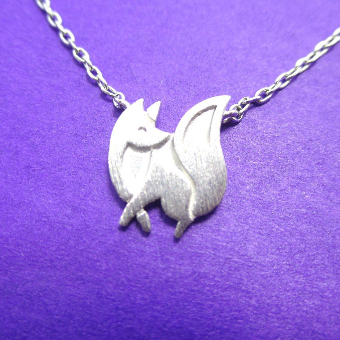 Baby Fox Shaped Silhouette Pendant Necklace in Silver