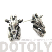 Baby Giraffe Realistic Animal Stud Earrings in Silver | Animal Jewelry | DOTOLY