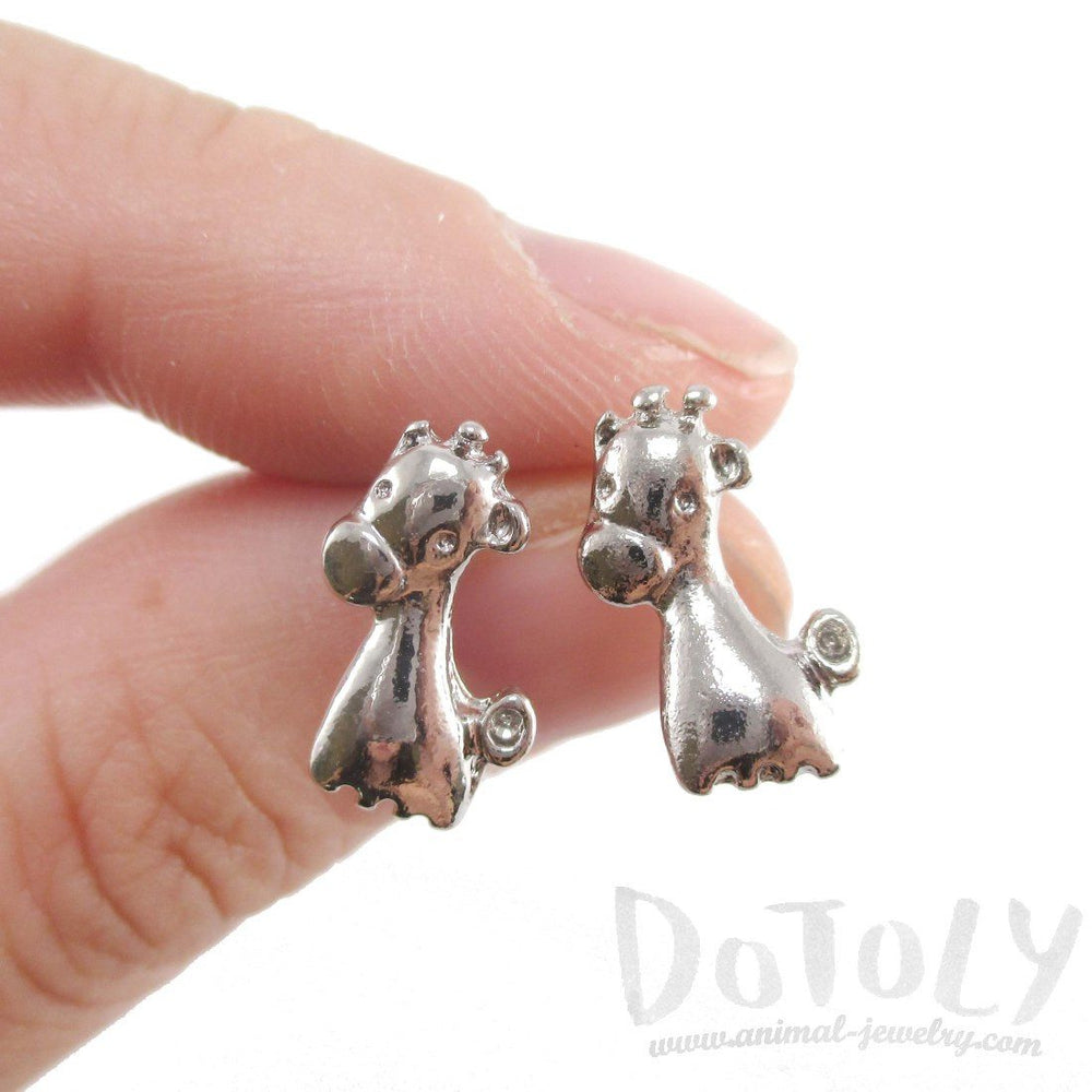 Baby Giraffe Shaped Stud Earrings in Silver | DOTOLY