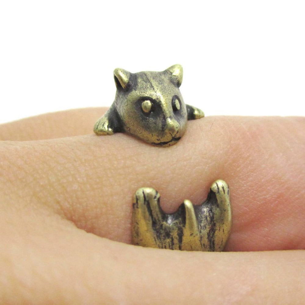 Baby Hamster Guinea Pig Shaped Animal Ring in Brass