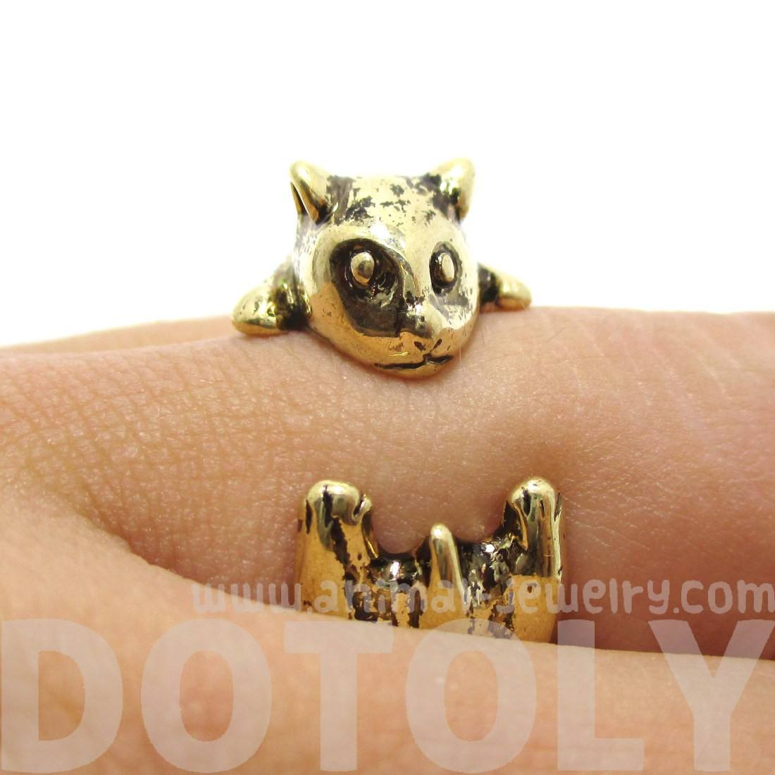 3D Hamster Guinea Pig Shaped Animal Ring in Shiny Gold