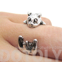 Hamster Guinea Pig Shaped Animal Ring in Shiny Silver