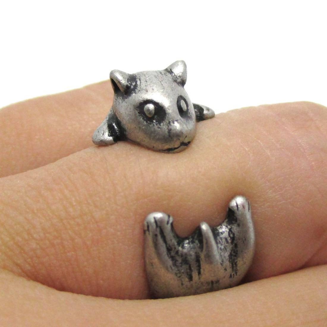 Baby Hamster Guinea Pig Shaped Animal Ring in Silver