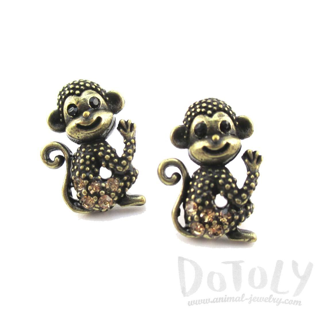 Baby Monkey Shaped Rhinestone Stud Earrings in Brass