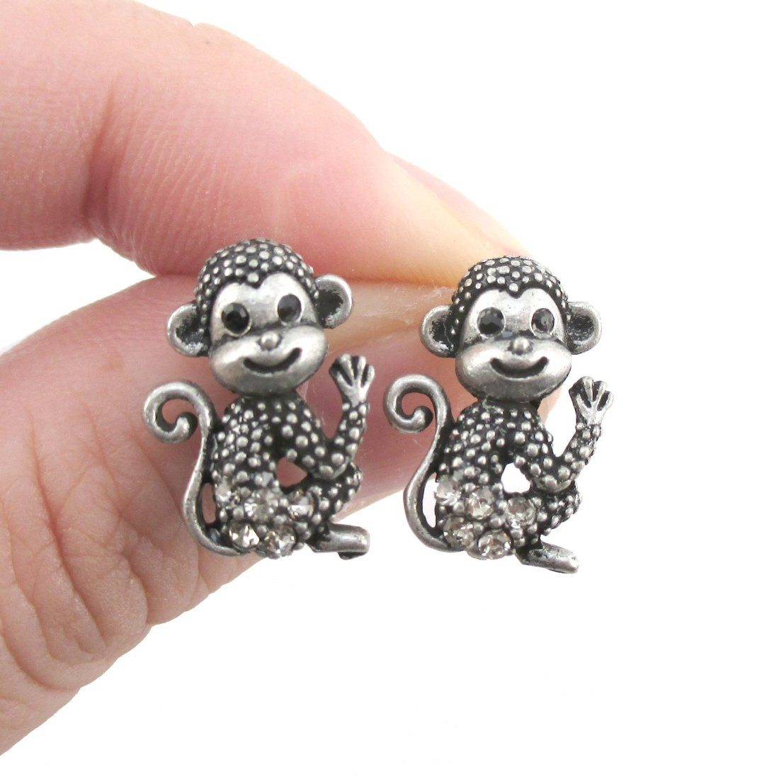 Baby Monkey Shaped Rhinestone Stud Earrings in Silver