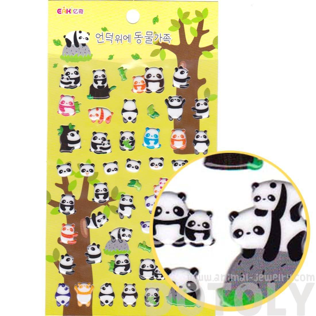 Baby Panda Bear Shaped Animal Themed Puffy Stickers for Scrapbooking