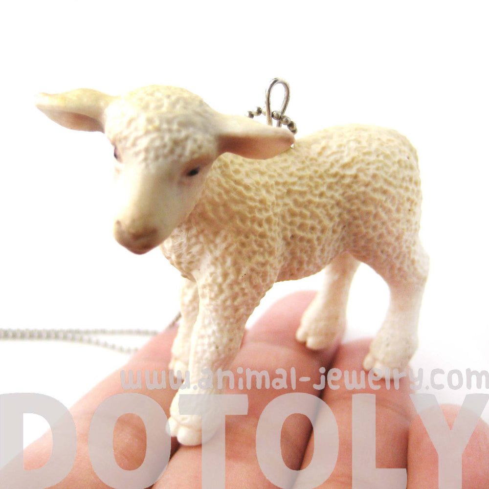 Baby Sheep Lamb Animal Plastic Pendant Necklace | Animal Jewelry | DOTOLY