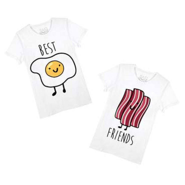 Bacon and Eggs Best Friends T-Shirt Graphic Print Tees | 2 Piece Set