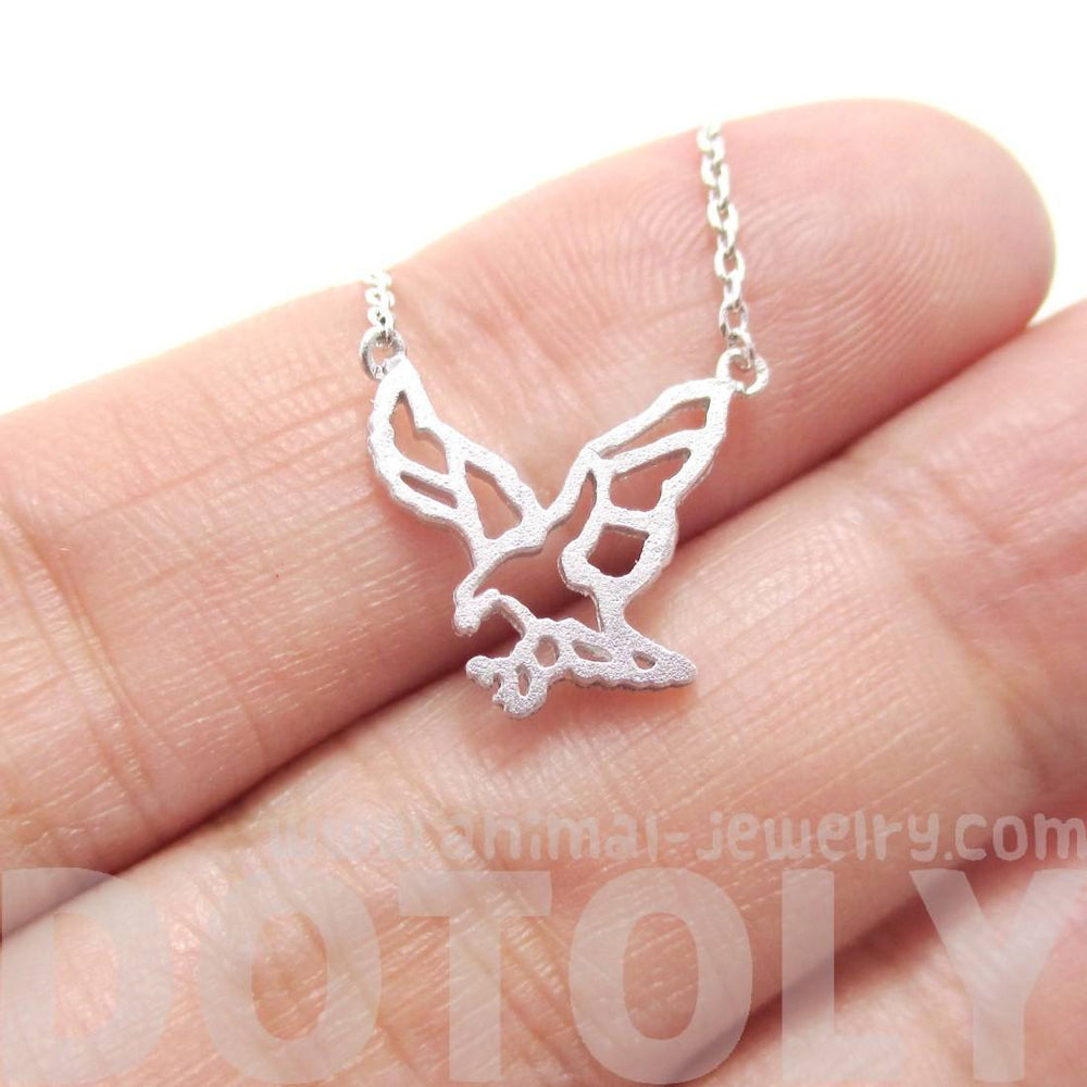 Eagle Outline Shaped Animal Charm Necklace in Silver