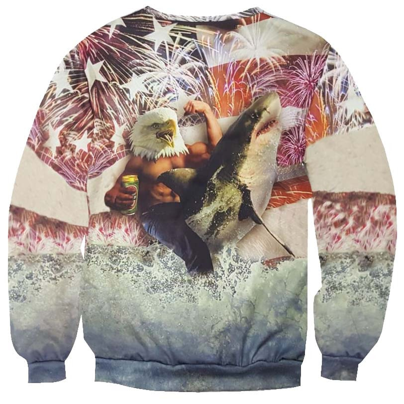 Bald Eagle Riding a Shark Against the American Flag Print Sweatshirt
