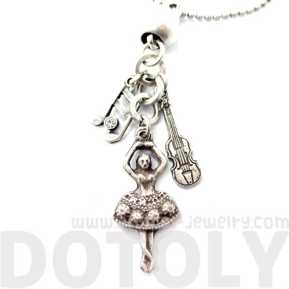 Ballerina Musical Notes and Violin Shaped Music Themed Charm Necklace