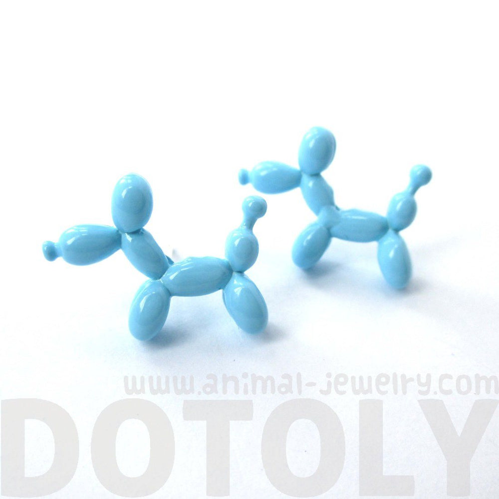 Balloon Dog Puppy Shaped Stud Earrings in Blue | DOTOLY
