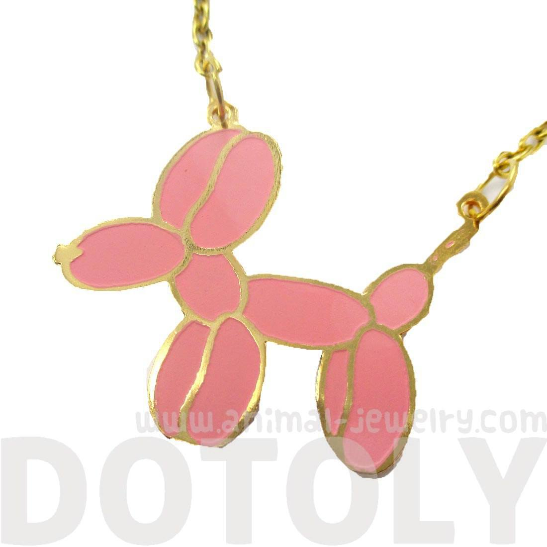 Balloon Dog Shaped Jeff Koons Inspired Animal Pendant Necklace in Pink