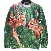 Bambi Deer Digital Graphic Print Pullover Sweater for Women | DOTOLY | DOTOLY