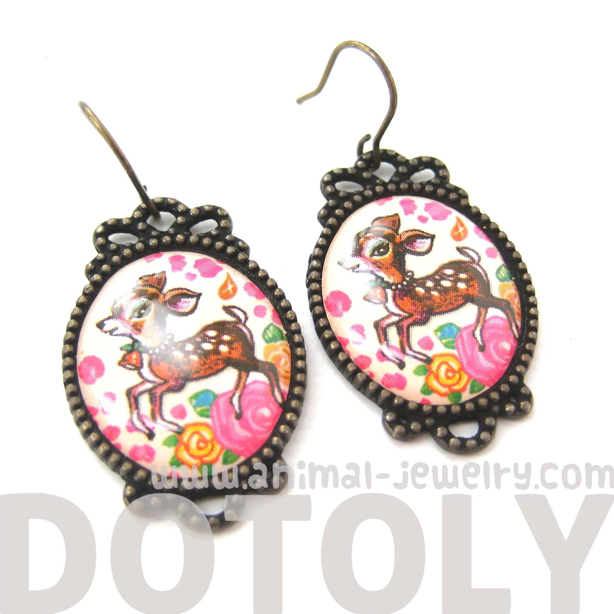 Bambi Deer Doe Illustrated Resin Dangle Earrings with Floral Details