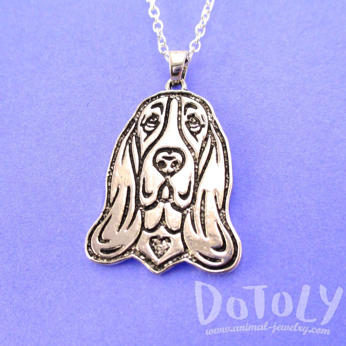 Basset Hound Dog Portrait Pendant Necklace in Silver
