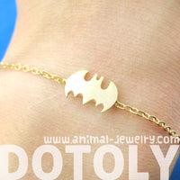 Bat Shaped Silhouette Symbol Batman Logo Charm Bracelet in Gold