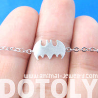 Bat Shaped Silhouette Symbol Batman Logo Charm Bracelet in Silver