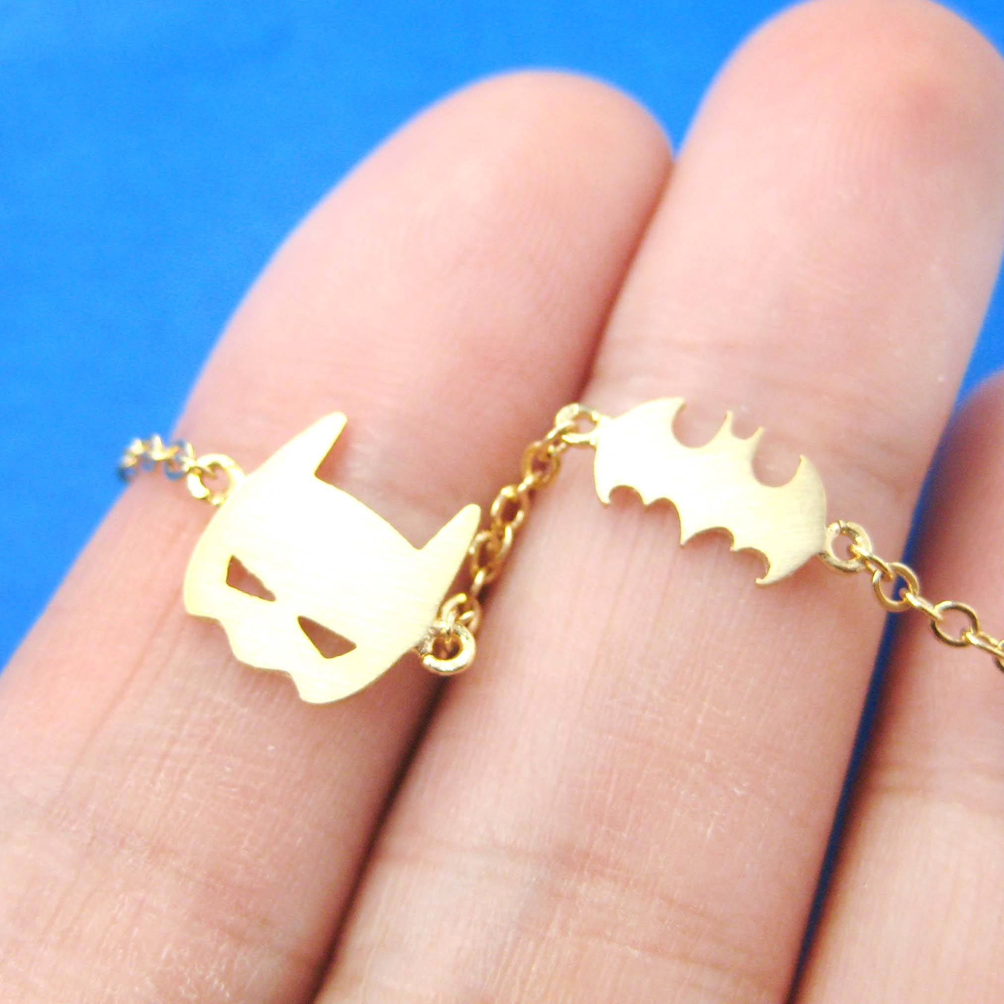 Batman Bat Logo Silhouette and Mask Charm Bracelet in Gold | DOTOLY