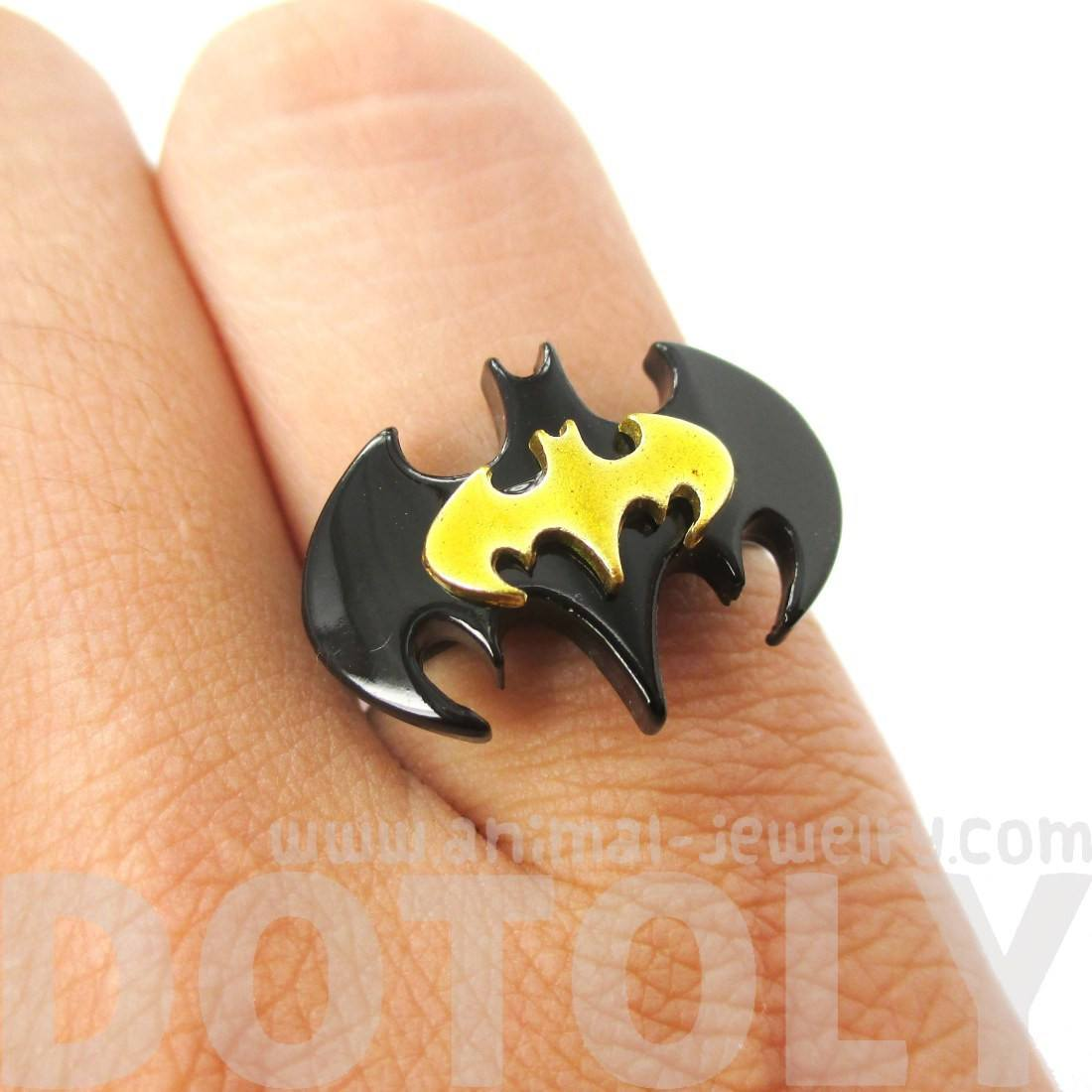 Batman Bat Shaped Silhouette Logo Adjustable Ring in Black