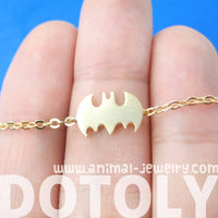 Batman Logo Bat Shaped Silhouette Symbol Charm Necklace in Gold