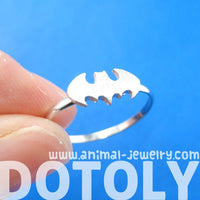 Batman Logo Bat Shaped Symbol Silhouette Adjustable Ring in Silver | DOTOLY