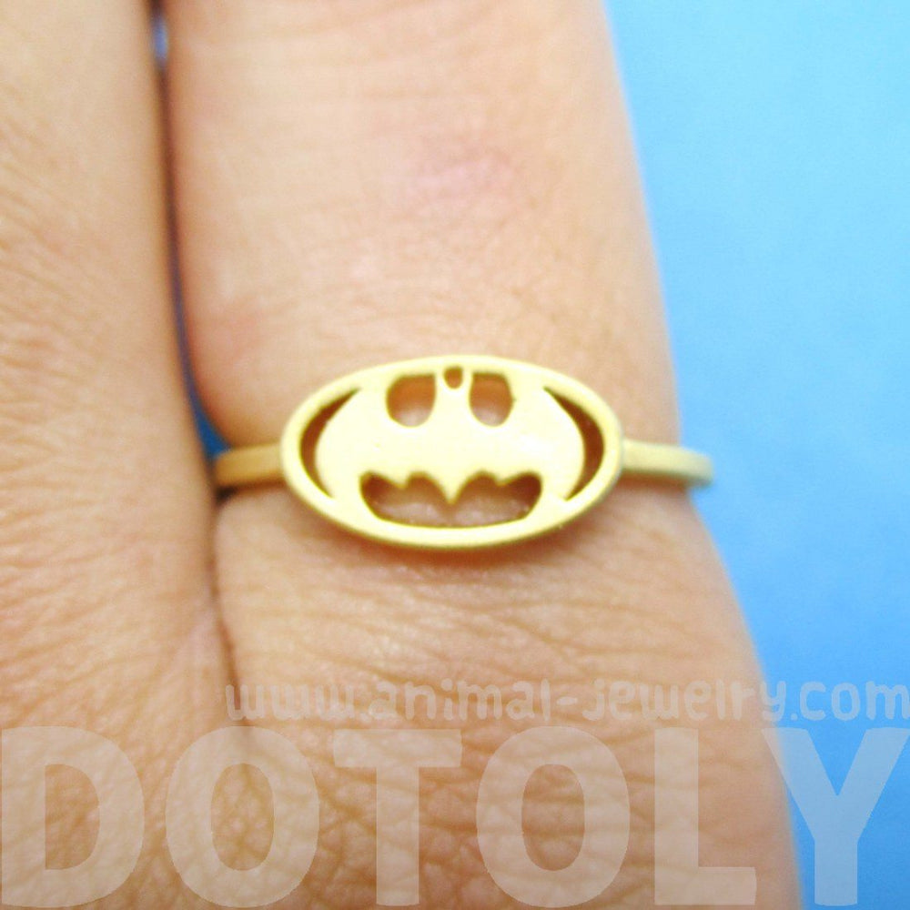 Batman Logo Bat Silhouette Shaped Gold Adjustable Ring