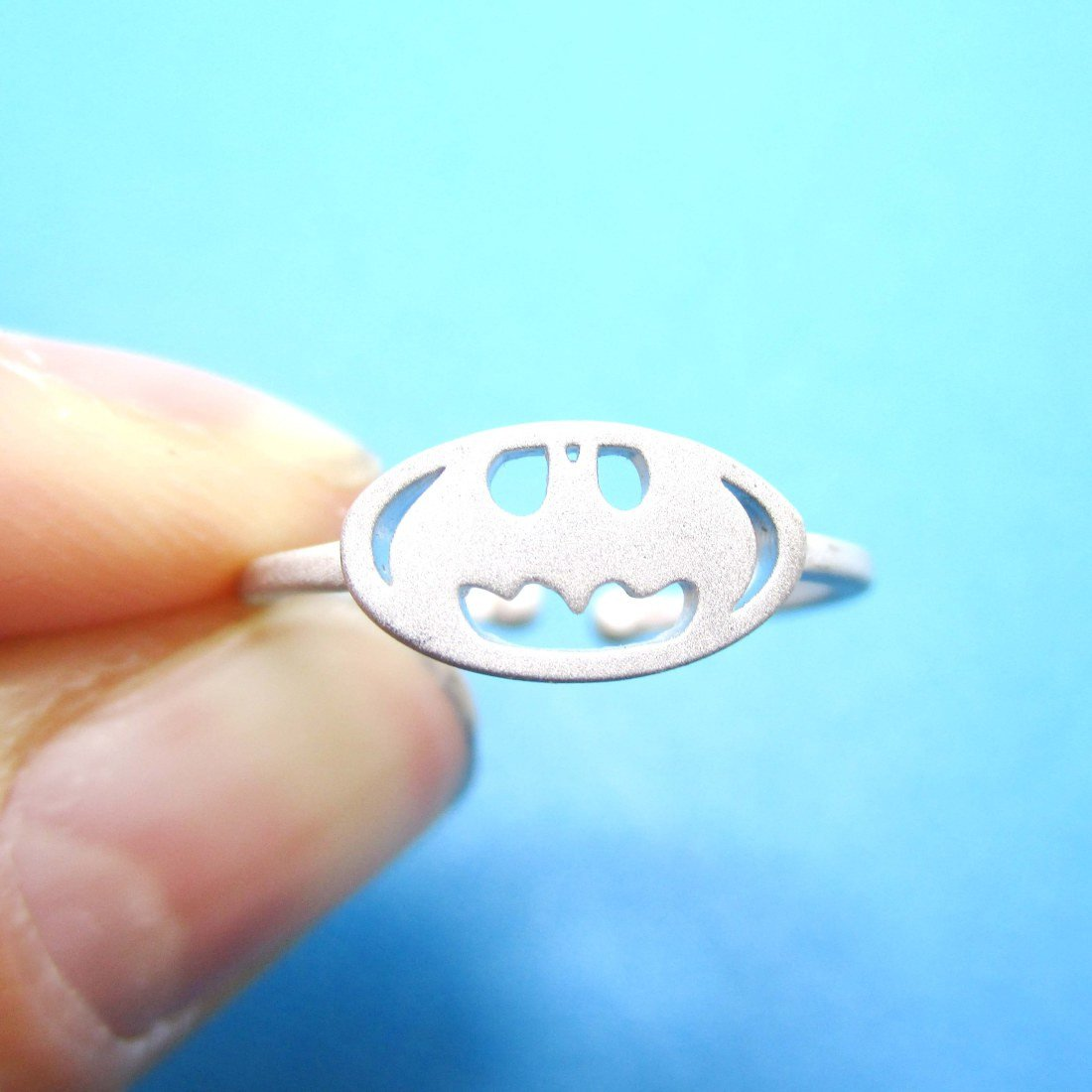 Batman Logo Bat Silhouette Shape Silver Adjustable Ring