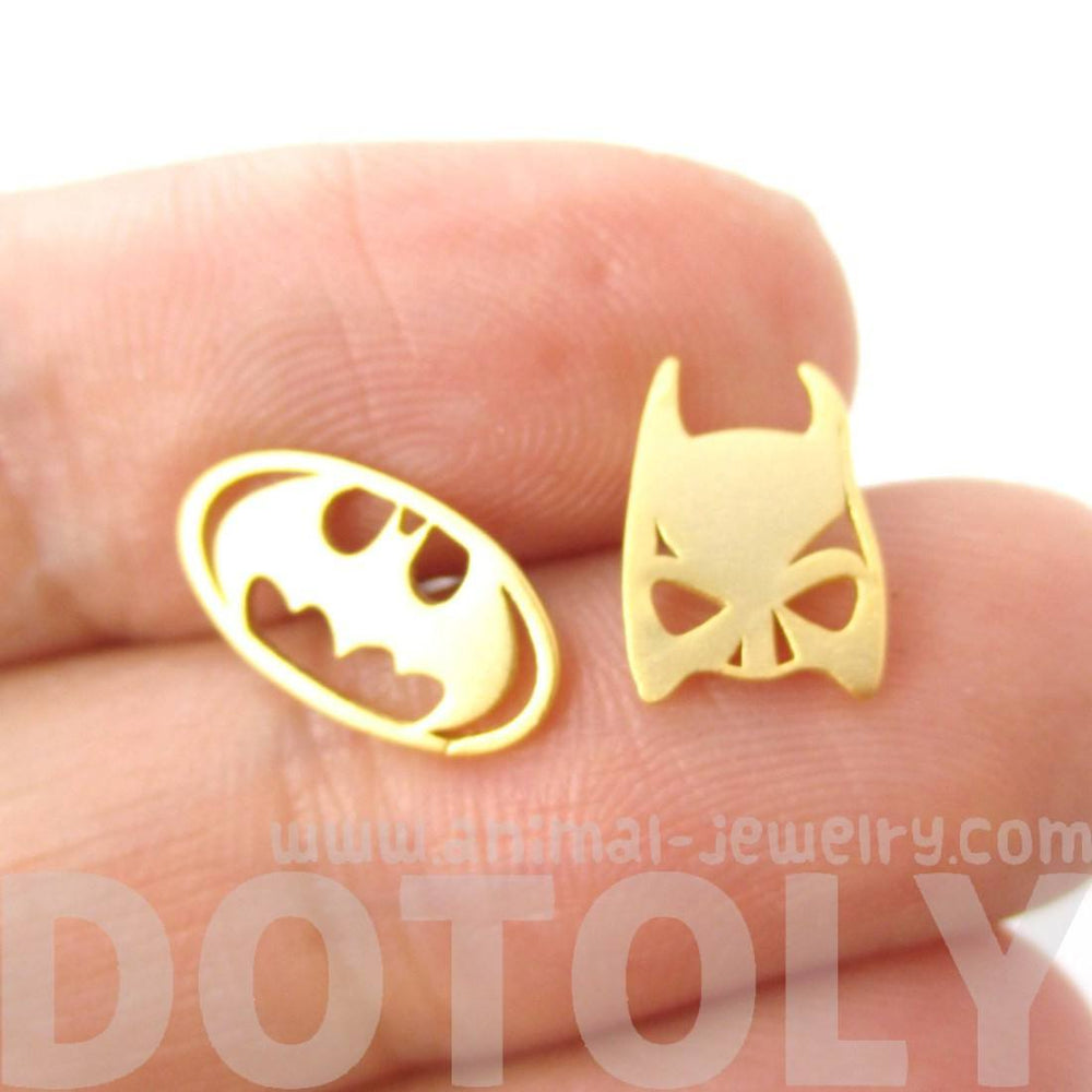 Batman Logo Symbol and Bat Mask Shaped Stud Earrings in Gold | Allergy Free | DOTOLY