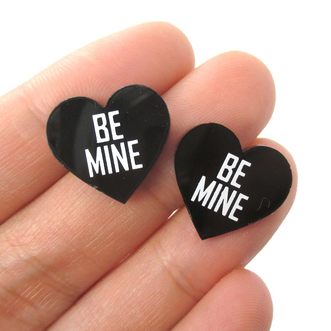 Be Mine Candy Heart Sweetheart Shaped Laser Cut Stud Earrings in Black