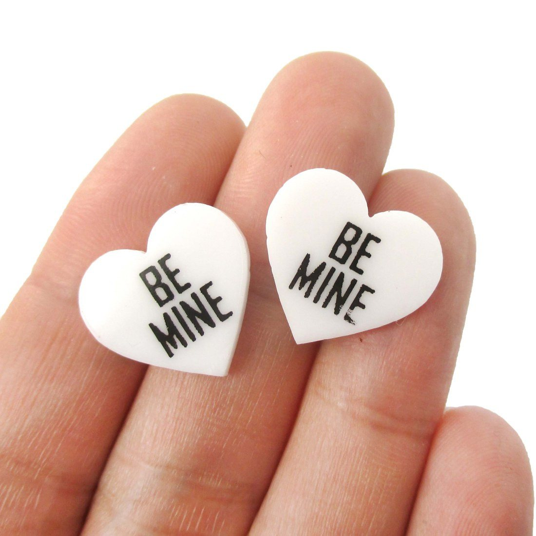 Be Mine Candy Heart Sweetheart Shaped Laser Cut Stud Earrings in White