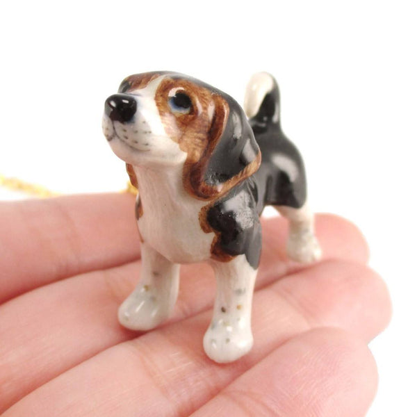 Beagle Puppy Dog Porcelain Hand Painted Ceramic Animal Charm Necklace