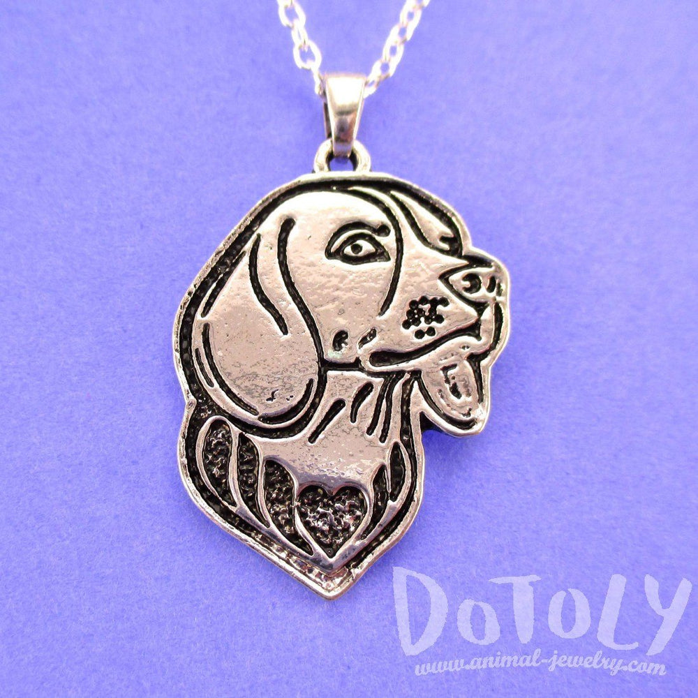 Beagle Puppy Dog Portrait Pendant Necklace in Silver