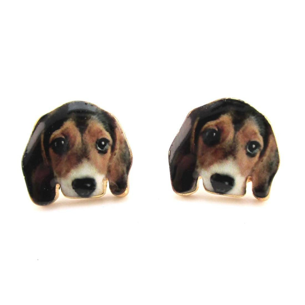 Beagle Puppy Face Portrait Shaped Stud Earrings for Dog Lovers