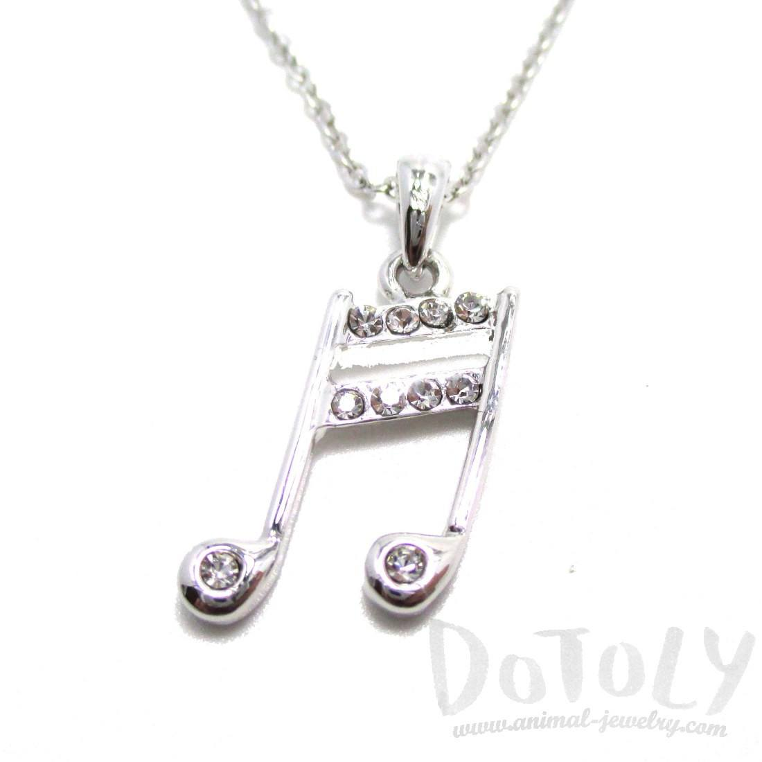 Beamed Quaver Note Shaped Pendant Necklace in Silver