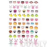 Bear Bunny Giraffe Pig Lion Animal Face Shaped Stickers