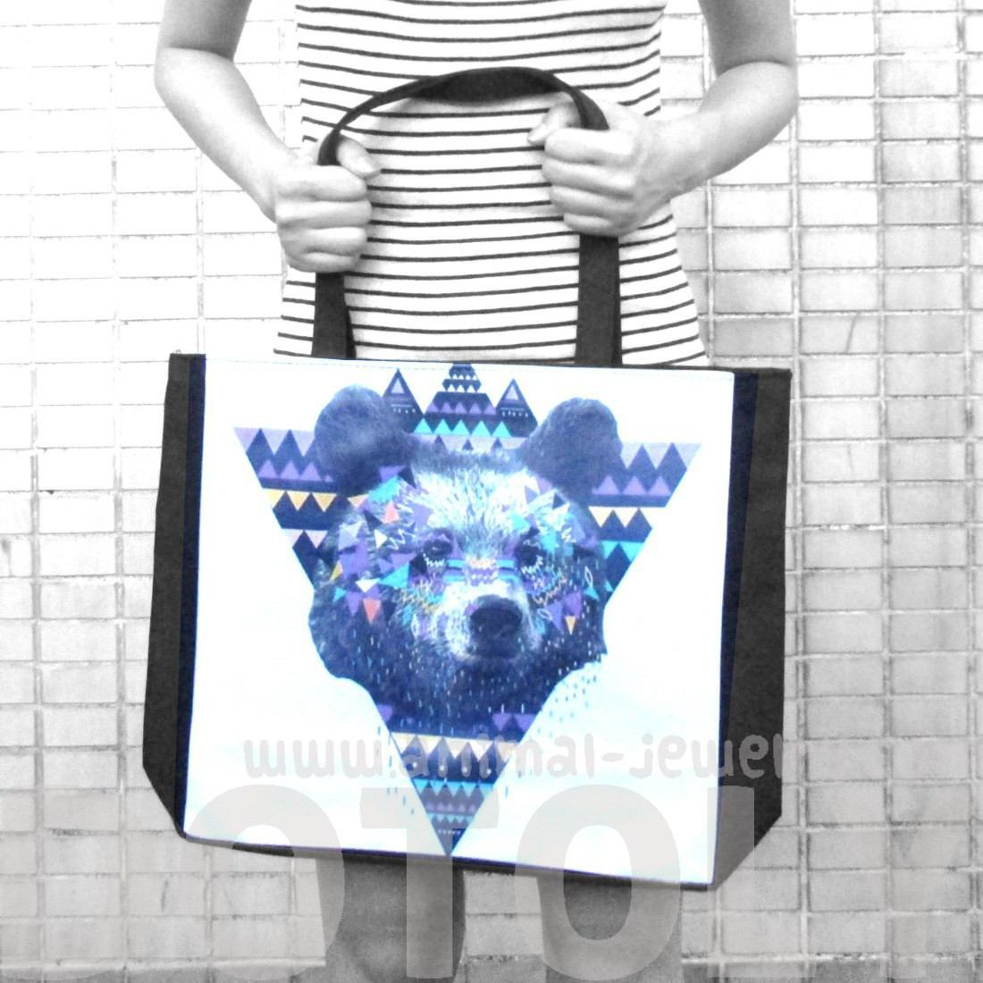 Geometrical Aztec Bear Print Rectangular Shopper Tote Shoulder Bag