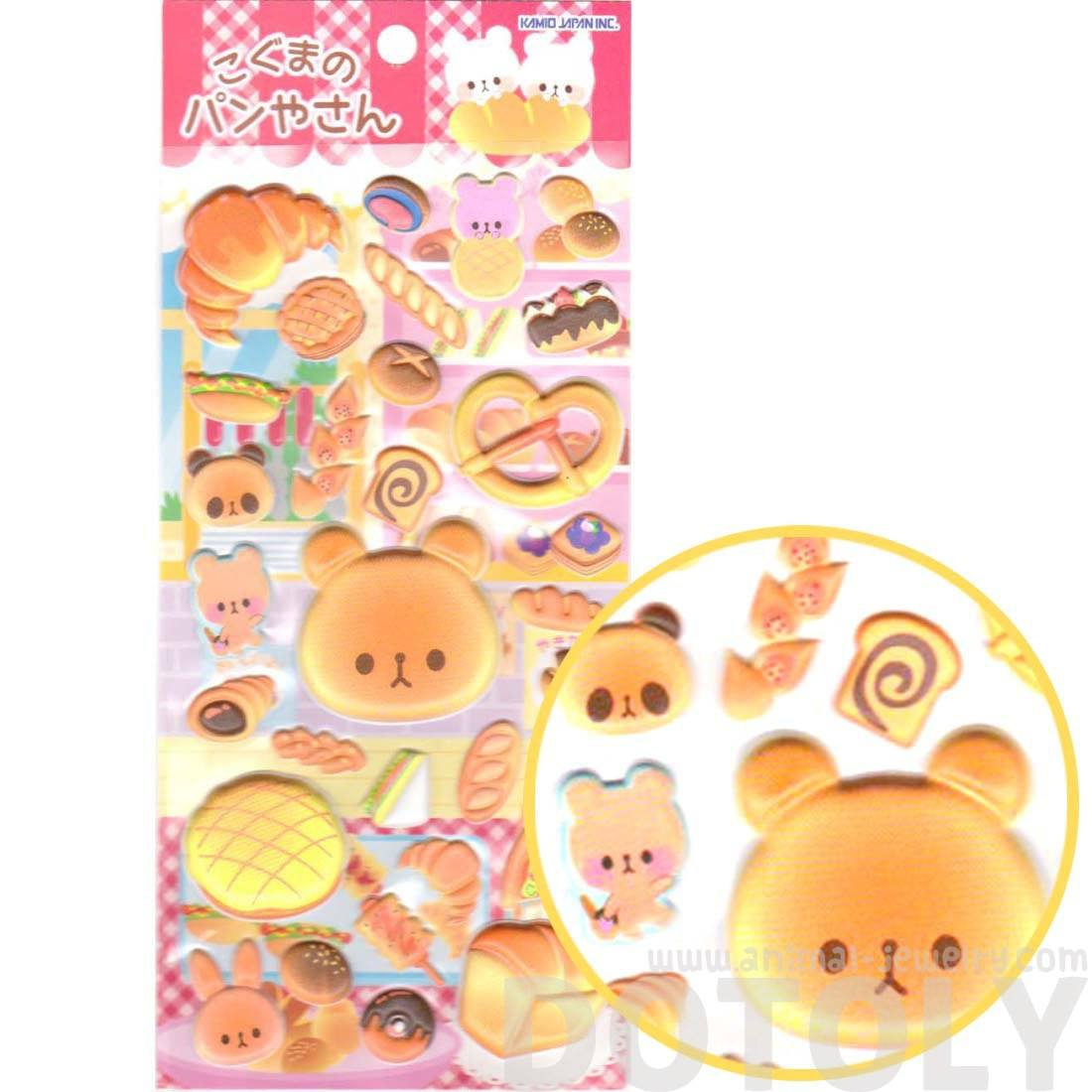 Bear Shaped Bread Croissant Pretzel Animal Puffy Stickers