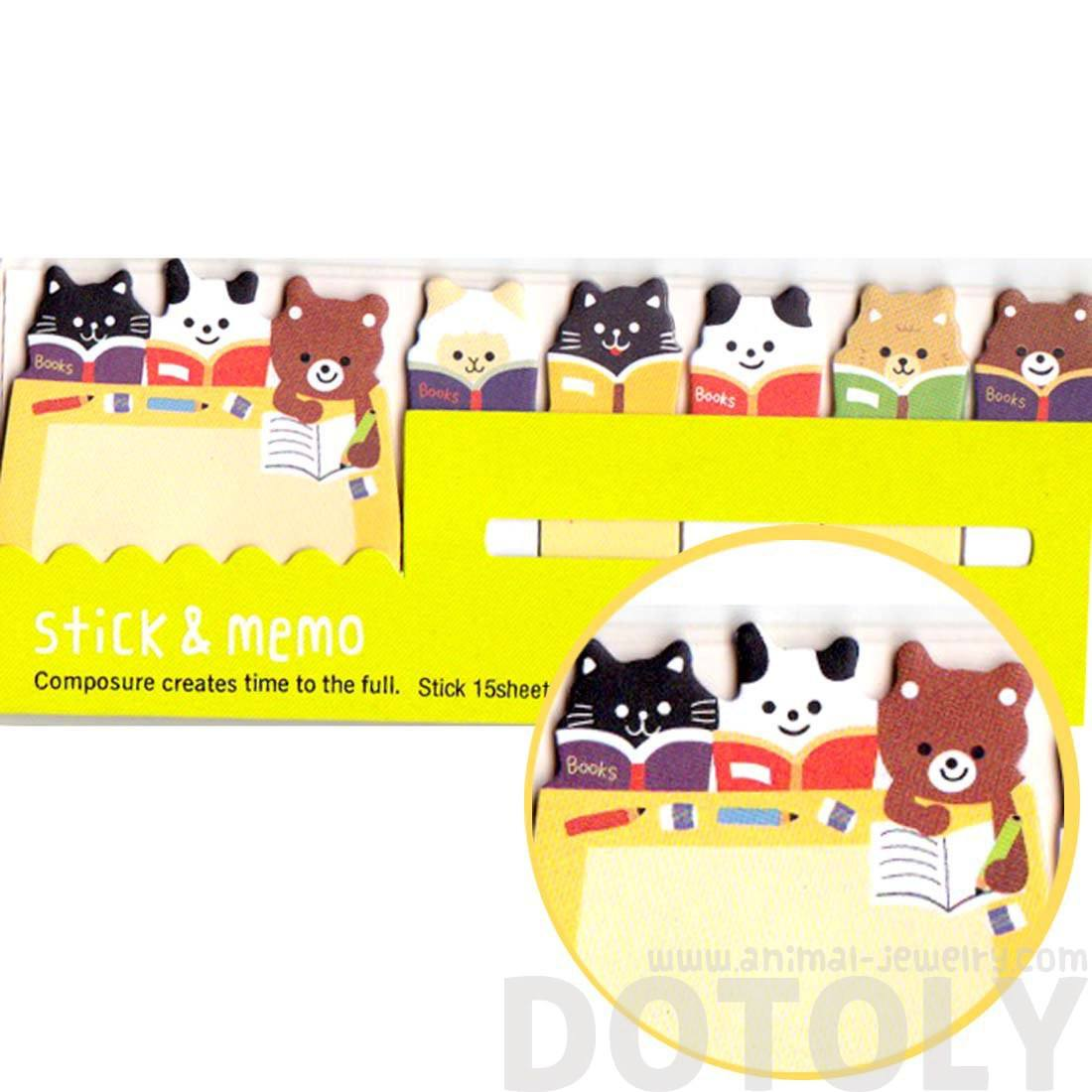 Bear Sheep and Kitty Cat Shaped Animal Memo Post-it Index Sticky Tabs