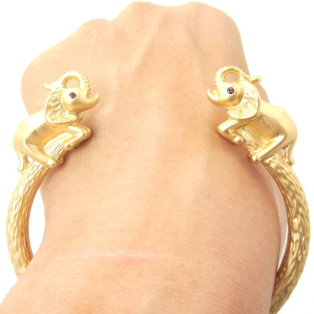 Beautiful Elephant Animal Wrap Around Bangle Bracelet Cuff in Gold