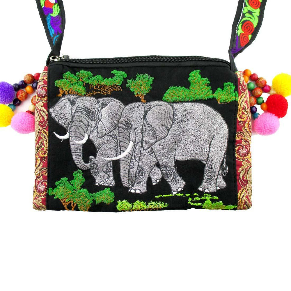 Embroidered Elephant Family Handmade xBody Bag in Grey