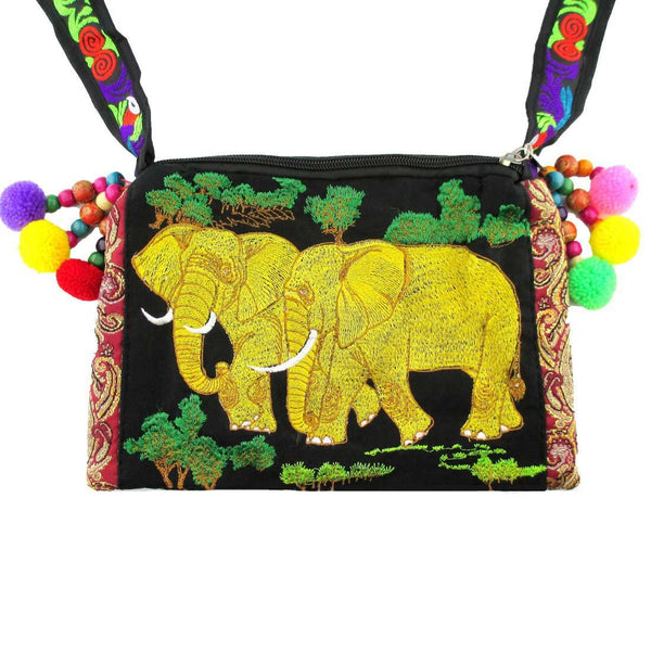 Embroidered Elephant Family Handmade Cross Body Bag