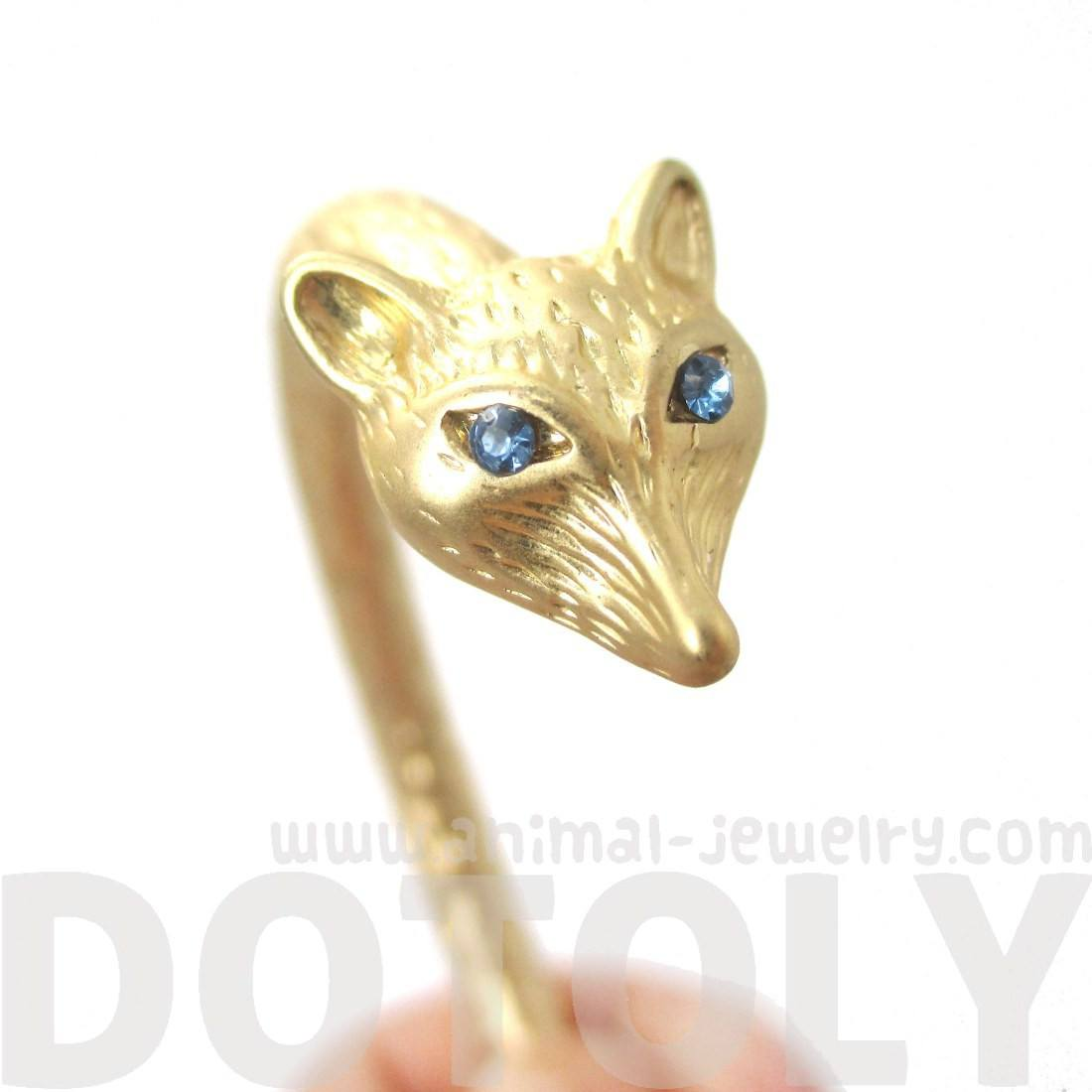 Beautiful Fox Head Shaped Animal Jewelry Bangle Bracelet Cuff in Gold