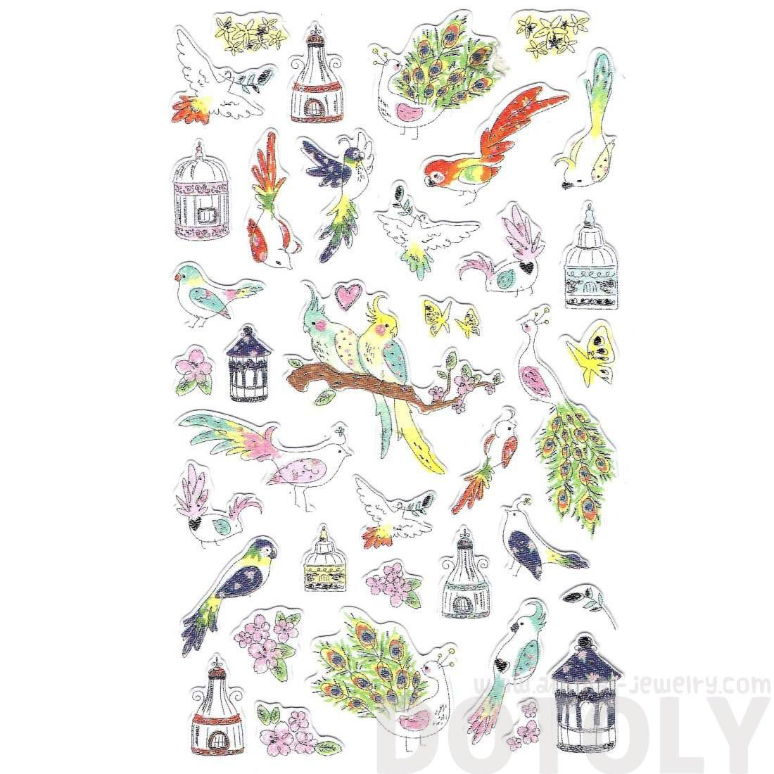 Beautiful Parrots Peacocks Bird Shaped Animal Themed Cut Out Stickers